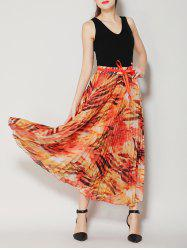 High Waist Pleated Midi Skirt with Bowknot