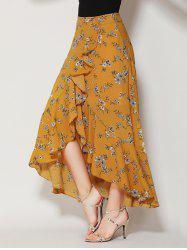 Tiny Floral Print Asymmetrical Ruffle Long Skirt
