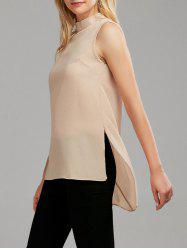 Mock Neck Side Slit Asymmetrical Tank Top