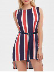 Contrast Striped Belted Mini Dress