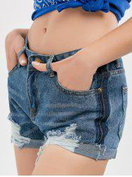 High Waist Denim Distressed Shorts - BLUE