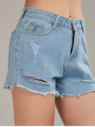 Raw Cut Denim Distressed Shorts