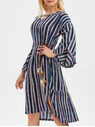 Striped Belted Side Slit Dress