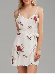 Spaghetti Strap Belted Floral Print Dress