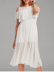High Waist Flounce Cold Shoulder Dress - WHITE