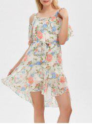 Cold Shoulder Flounce Floral Print Dress