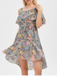 Cold Shoulder Flounce Floral Print Dress - GRAY