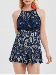Flounce Lace High Waisted Romper