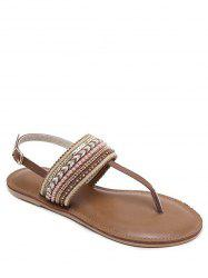 Beading Belt Buckle Flat Heel Sandals