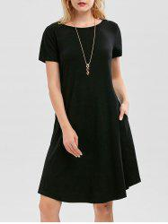 Short Sleeve Pockets Swing Dress - BLACK