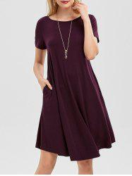 Short Sleeve Pockets Swing Dress - CONCORD
