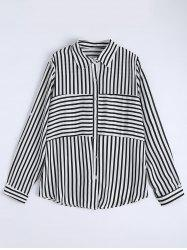 Plus Size Button Up Stripe Shirt