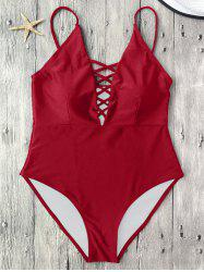 Cami Lace-Up Strappy Padded One-Piece Bathing Suit - RED