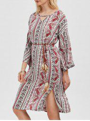 Paisley Print Belted Side Slit Dress