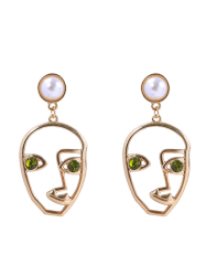 Artificial Pearl Rhinestone Face Earrings