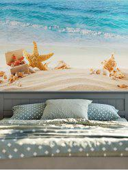 Wall Hanging Starfish Conch Beach Print Tapestry - BLUE AND YELLOW