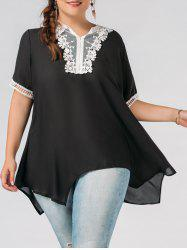 Plus Size Lace Trim Chiffon Asymmetric Flowy Top
