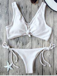 Knotted Ribbed String Bikini