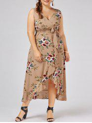 Plus Size Overlap Flounced Tiny Floral Dress - APRICOT 3XL