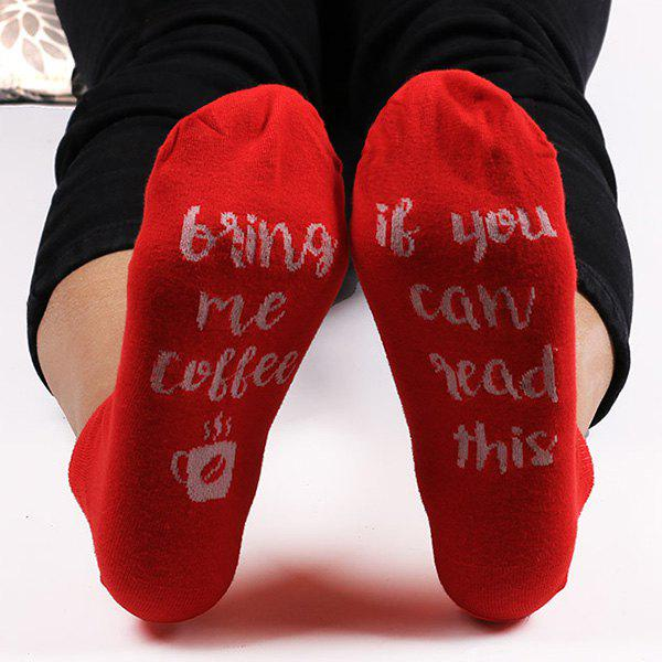 Sale Funny Cup Letters Pattern Kintted Ankle Socks