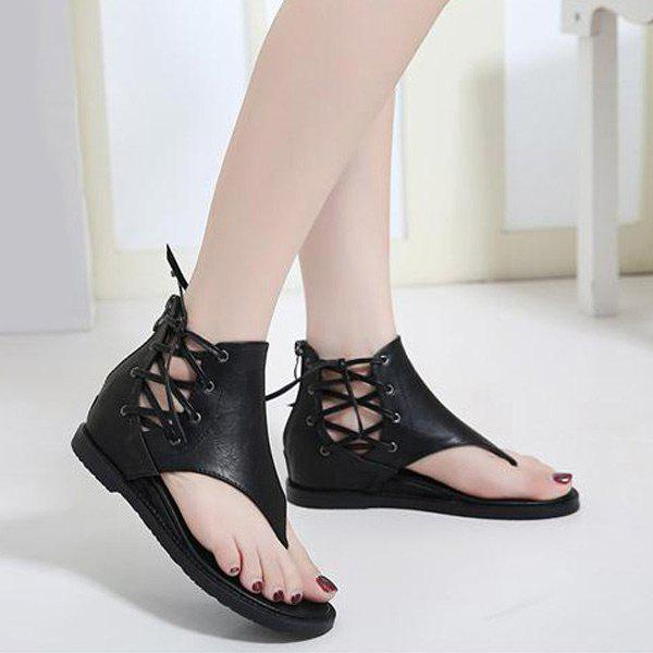 Affordable Lace Up Wedge Heel Zipper Sandals