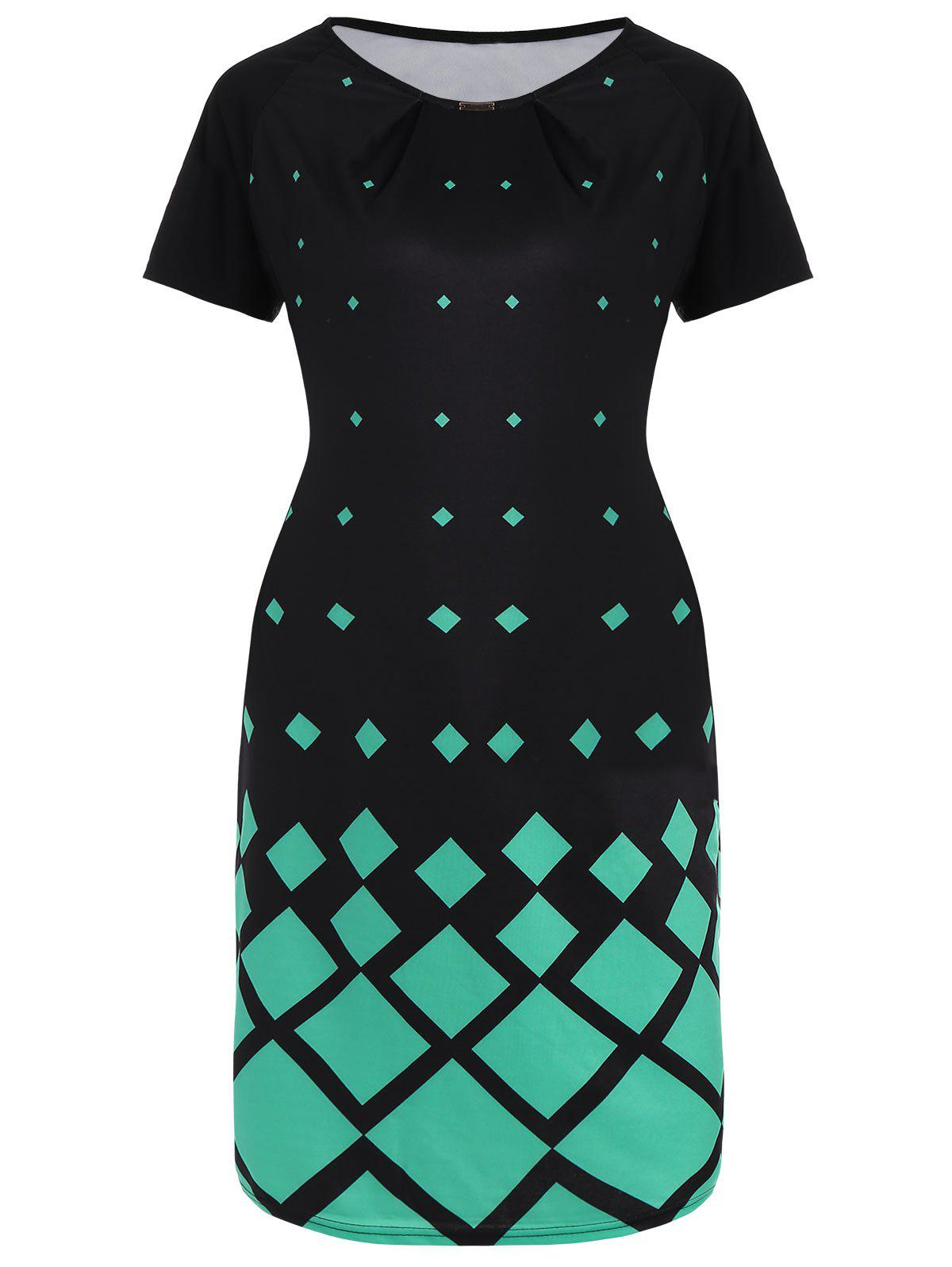Affordable Plus Size Geometric Print Knee Length Dress