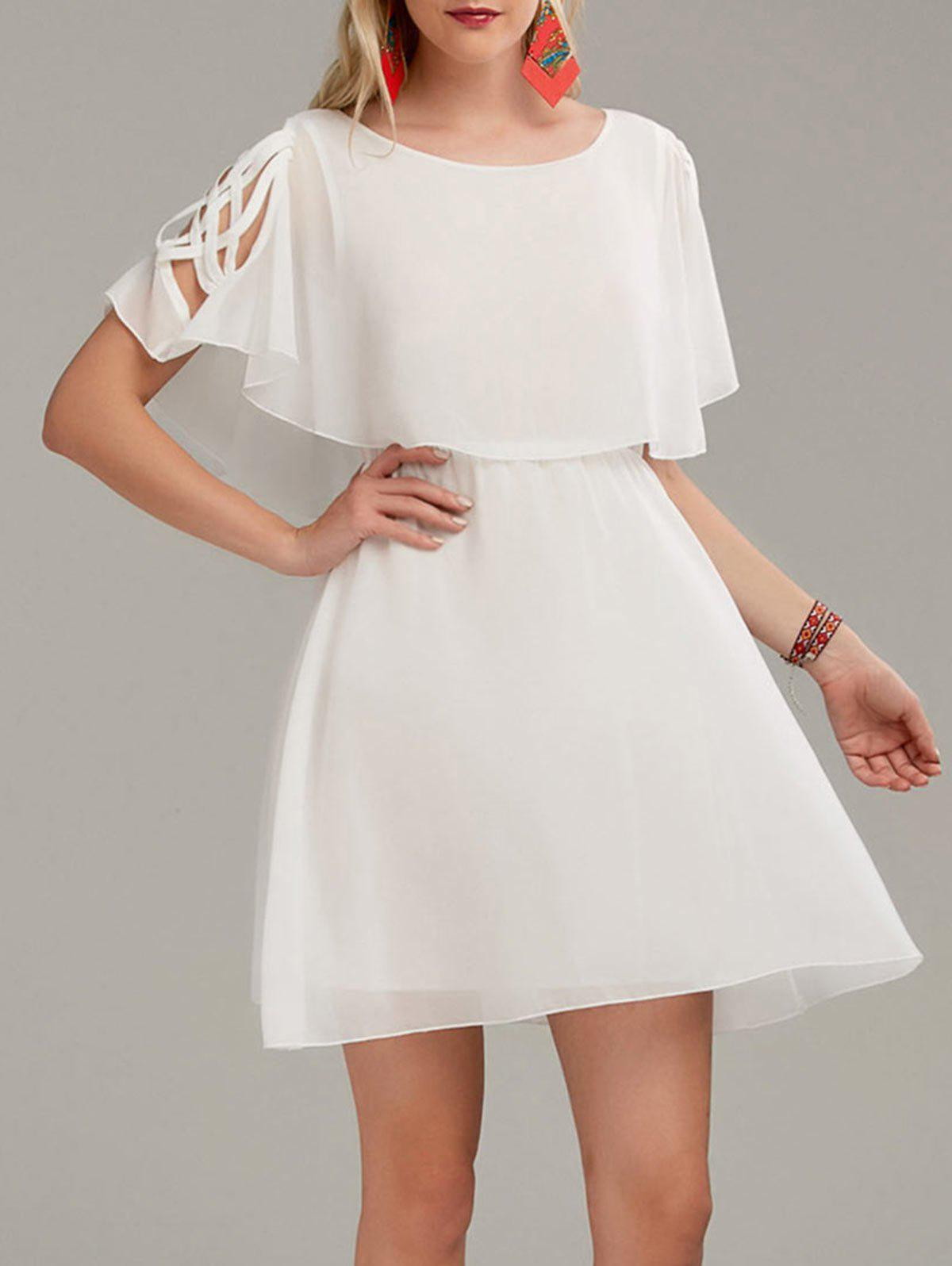 Sale Ruffle Overlay Chiffon Cold Shoulder Dress