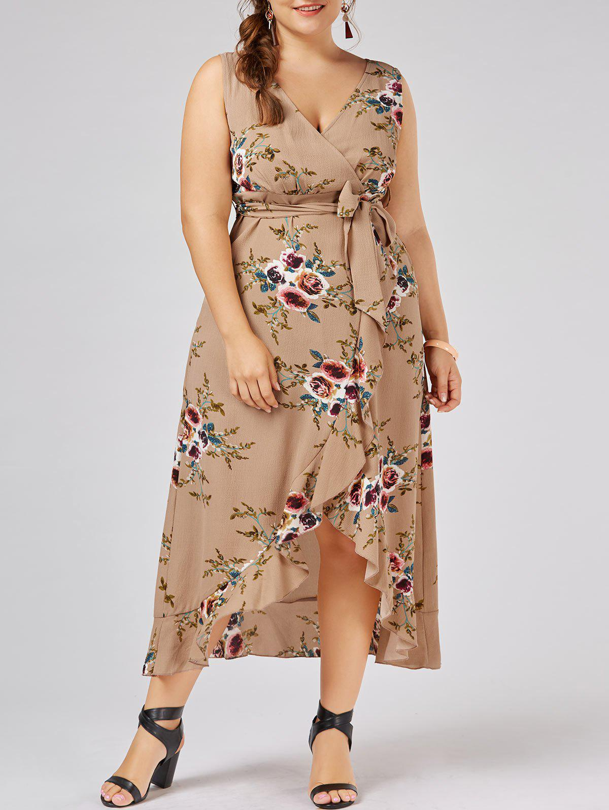 Plus Size High Low Long Floral DressWOMEN<br><br>Size: 2XL; Color: APRICOT; Style: Bohemian; Material: Polyester; Silhouette: A-Line; Dresses Length: Ankle-Length; Neckline: Plunging Neck; Sleeve Length: Sleeveless; Pattern Type: Floral; With Belt: Yes; Season: Summer; Weight: 0.3700kg; Package Contents: 1 x Dress  1 x Belt;