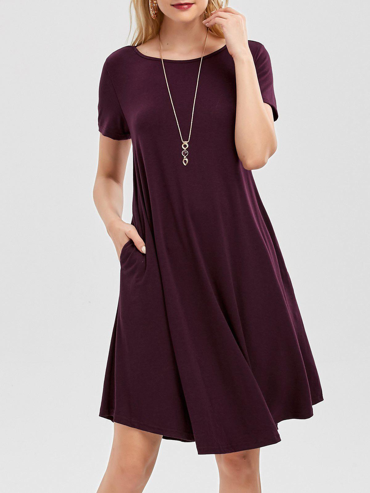 New Short Sleeve Pockets Short Casual Swing Dress
