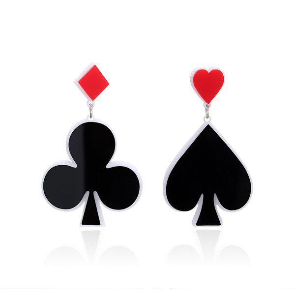 Poker Heart Geometric Funny EarringsJEWELRY<br><br>Color: BLACK; Earring Type: Drop Earrings; Gender: For Women; Style: Trendy; Shape/Pattern: Geometric,Heart; Length: 6.4CM /6.2CM; Weight: 0.0300kg; Package Contents: 1 x Earring (Pair);