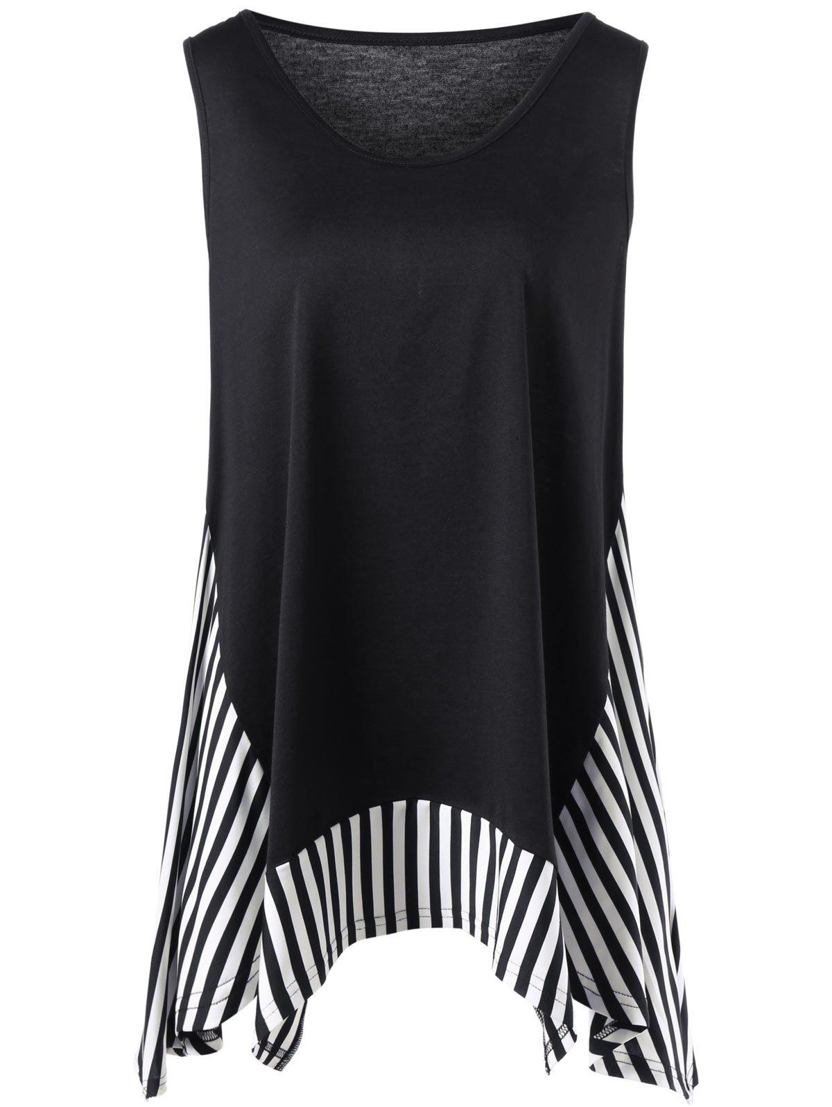 Outfits Plus Size Sleeveless Striped Trim T-shirt