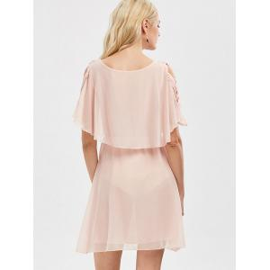 Ruffle Overlay Chiffon Cold Shoulder Dress -