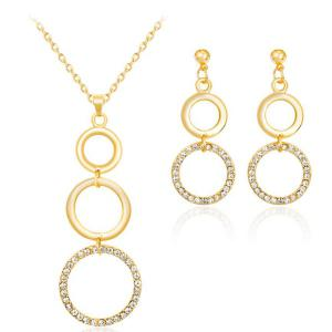 Gold Plated Rhinestone Circles Jewelry Set