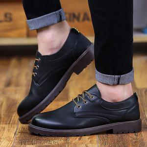 Faux Leather Round Toe Casual Shoes -
