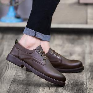 Faux Leather Round Toe Casual Shoes - Deep Brown - 40