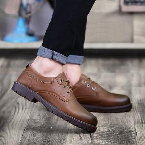 Faux Leather Round Toe Casual Shoes - Brown - 40