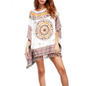 Tribal Print Tassel Batwing Tunic Top - White - One Size