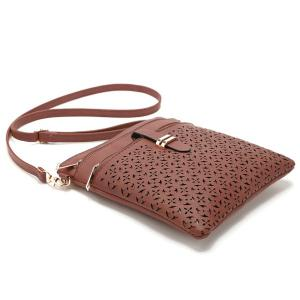 Hollow Out PU Leather Crosbody Bag - BROWN