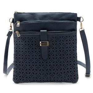 Hollow Out PU Leather Crosbody Bag - Deep Blue - 38