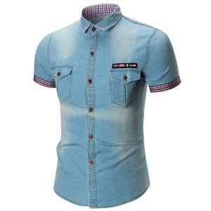 Flag Patch Pocket Denim Shirt
