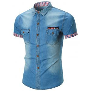 Flag Patch Pocket Denim Shirt - Blue - 2xl