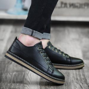 Stitching Faux Leather Tie Up Casual Shoes