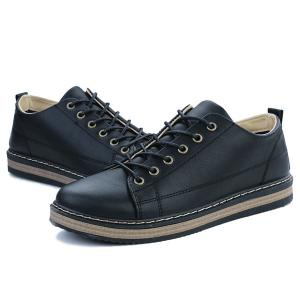 Stitching Faux Leather Tie Up Casual Shoes -