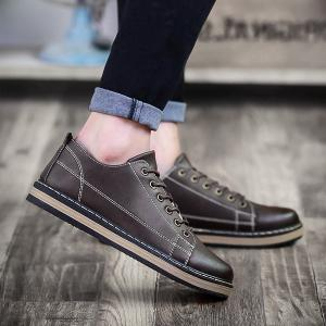 Stitching Faux Leather Tie Up Casual Shoes - Deep Brown - 40