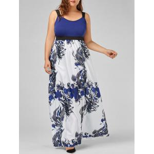 Floral A Line Maxi Plus Size Prom Dress - Blue - 5xl
