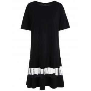 Mesh Trim Drop Waist Plus Size T-shirt Dress