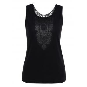 Openwork Lace Insert Backless Tank Top