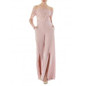 High Waist Formal Wide Leg Jumpsuit - Light Pink - S