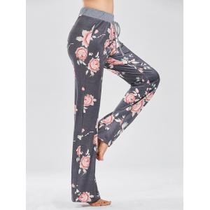 Casual Floral Print Drawstring Pants - DEEP GRAY L