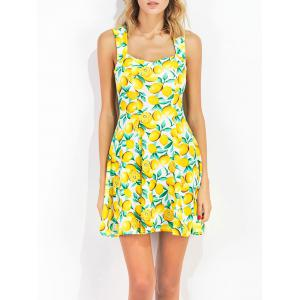 Lemon Print Sweetheart Collar Sun Dress